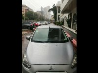 Silver Mitsubishi Mirage 2014 Hatchback for sale in Makati City
